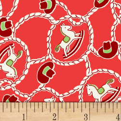 Storybook Ranch Rocking Horse Red Fabric