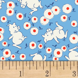 Storybook Ranch Playful Pigs Blue Fabric