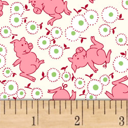 Storybook Ranch Playful Pigs Pink Fabric