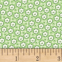 Storybook Ranch Sweet Floral Green Fabric