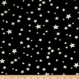 Double Brushed Jersey Knit Starburst Black/White Fabric