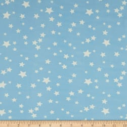 Double Brushed Jersey Knit Starburst Sky Blue/White Fabric