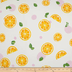 Double Brushed Jersey Knit Passion Citrus Ivory/Yellow Fabric