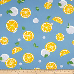 Double Brushed Jersey Knit Passion Citrus Blue/Yellow Fabric