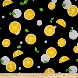 Double Brushed Jersey Knit Passion Citrus Black/Yellow Fabric