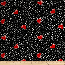 Double Brushed Jersey Knit Doodles and Hearts Black Fabric