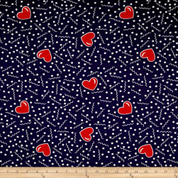 Double Brushed Jersey Knit Doodles and Hearts Navy