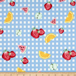 Double Brushed Jersey Knit Gingham Fruit Party Sky