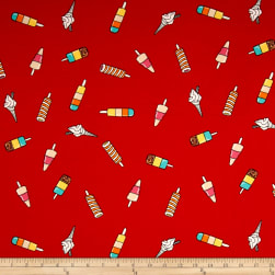 Double Brushed Jersey Knit Popsicle Parade Red Fabric