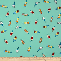 Double Brushed Jersey Knit Popsicle Parade Teal Fabric