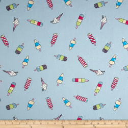 Double Brushed Jersey Knit Popsicle Parade Baby Blue
