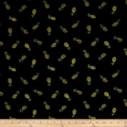 Double Brushed Jersey Knit Pineapple Express Black Fabric