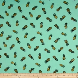 Double Brushed Jersey Knit Pineapple Express Mint Fabric