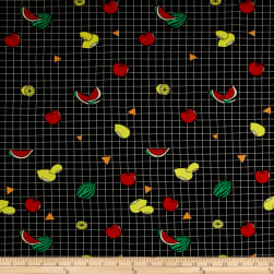 Double Brushed Jersey Knit Fruit Widely Fruity Black Fabric
