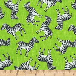 Timeless Treasures Jungle Boogie Tossed Zebra Lime Fabric