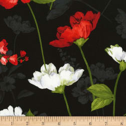 Timeless Treasures Colette Main Floral Black Fabric