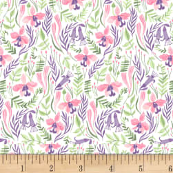 Dear Stella Pink Paradise Orchids White Fabric