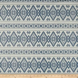 Laura & Kiran Stockholm Print Basketweave Blue Fabric