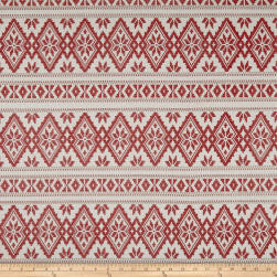 Laura & Kiran Stockholm Print Basketweave Red Fabric