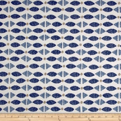 Robert Allen @ Home Hand Stamp IndigoBasketweave Fabric