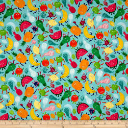 Andover/Makower Fruity Friends Fruity Friends Scatter Blue Fabric