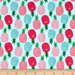 Andover/Makower Fruity Friends Pineapples Blue Fabric