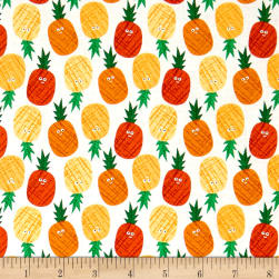 Andover/Makower Fruity Friends Pineapples Orange/Yellow Fabric