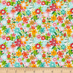 Andover/Makower Fruity Friends Floral White Fabric