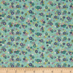 Andover/Makower Katie Jane Multi Floral Teal Fabric