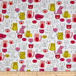 Andover/Makower Kitty Kitty Cats Pink Fabric