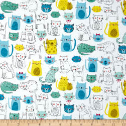 Andover/Makower Kitty Kitty Cats Blue Fabric