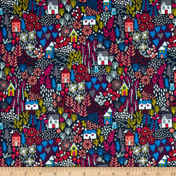 Andover/Makower Kitty Kitty Garden Blue Fabric