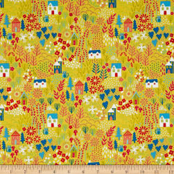Andover/Makower Kitty Kitty Garden Yellow Fabric