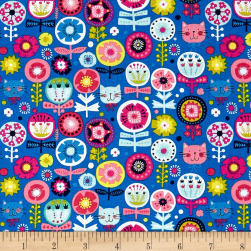 Andover/Makower Kitty Kitty Floral Blue Fabric