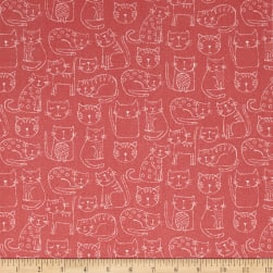 Andover/Makower Kitty Kitty Outline Blush Fabric