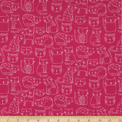 Andover/Makower Kitty Kitty Outline Pink Fabric