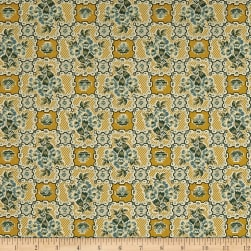 Andover Maling Road Shop Tile Gold Fabric