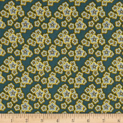 Andover Maling Road Flowers Blue Fabric