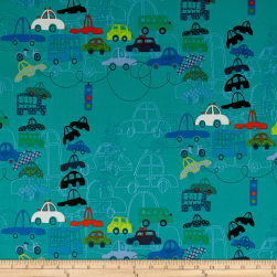 Alexander Henry Traffic Jam Teal Fabric