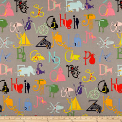 Alexander Henry Picture Me ABC Grey Fabric