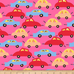 QT Fabrics City Gals Cars Hot Pink Fabric