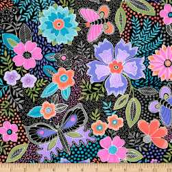 QT Fabrics Gypsy Butterfly Floral Black Fabric