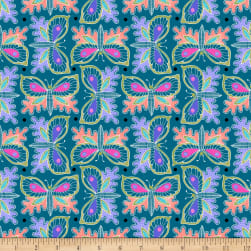 QT Fabrics Gypsy Butterflies Teal Fabric