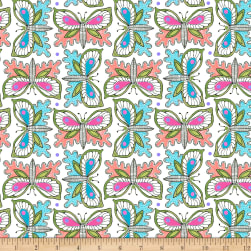 QT Fabrics Gypsy Butterflies White Fabric