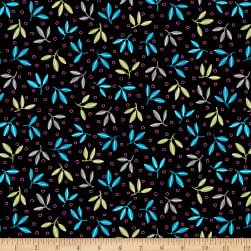 QT Fabrics Gypsy Leaf Spray Black