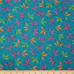 QT Fabrics Gypsy Leaf Spray Turquoise Fabric