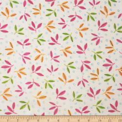QT Fabrics Gypsy Leaf Spray White Fabric
