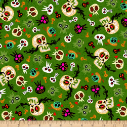 QT Fabrics Hot Tamale Skulls Green Fabric