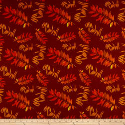 Rustic Roosters Leaf Fronds Burgundy Fabric