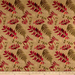Rustic Roosters Palm And Leaf Fronds Tan Fabric